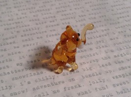 Micro miniature small hand blown glass amber standing elephant USA made