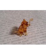 Micro miniature small hand blown glass amber standing elephant USA made - $19.79