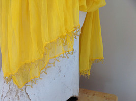 Indian Style Yellow Beaded Scarf Scrunched Design Tassels are Beaded image 4