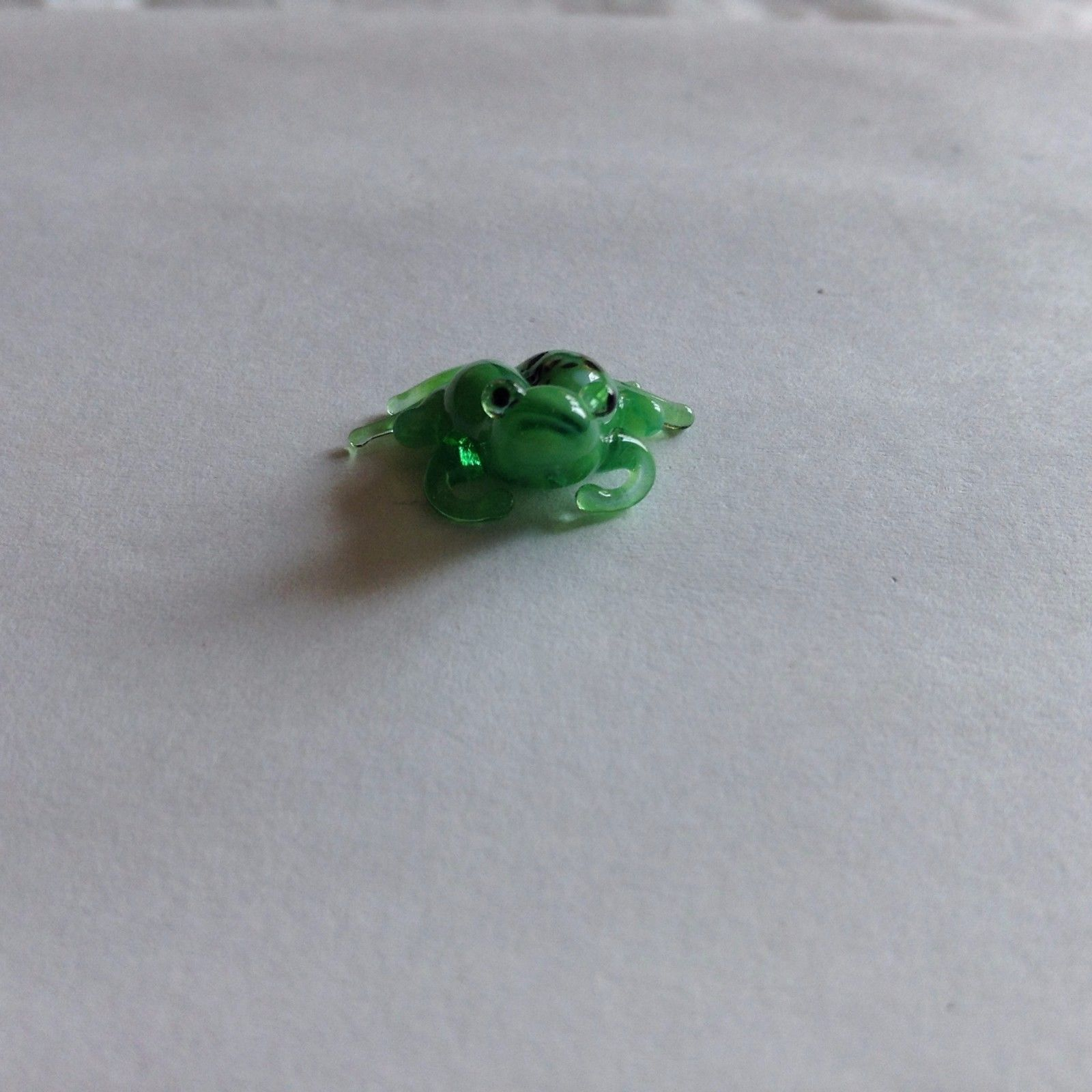 Primary image for Micro miniature small hand blown glass figurine sad green frog USA  NIB