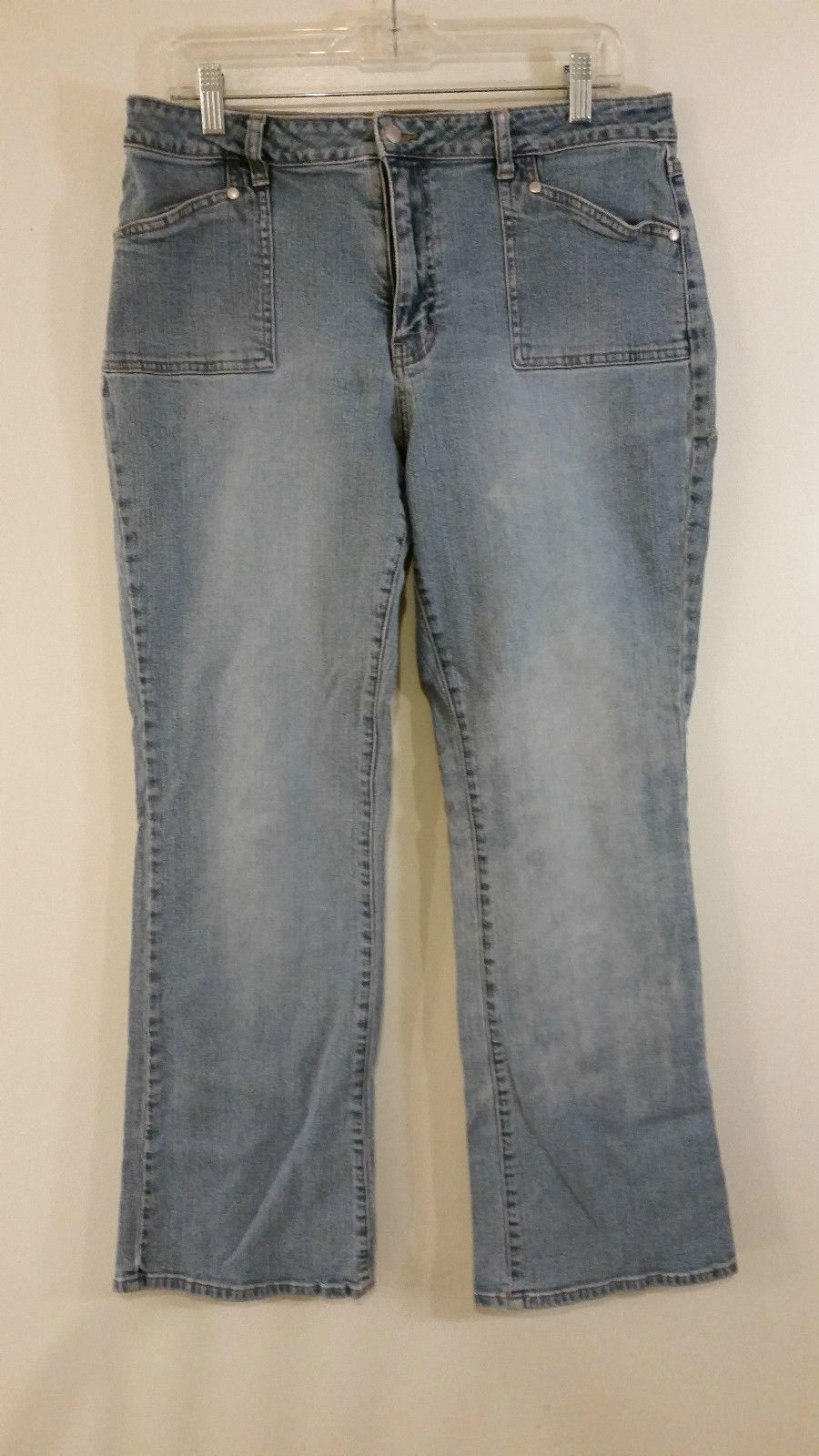 L A Blues Stretch Blue Jeans Size 16 Front and Back Pockets Straight Legs