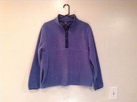 L L Bean Blue with Dark Blue Trim Long Sleeve Fleece Top Side Pockets Size L Reg