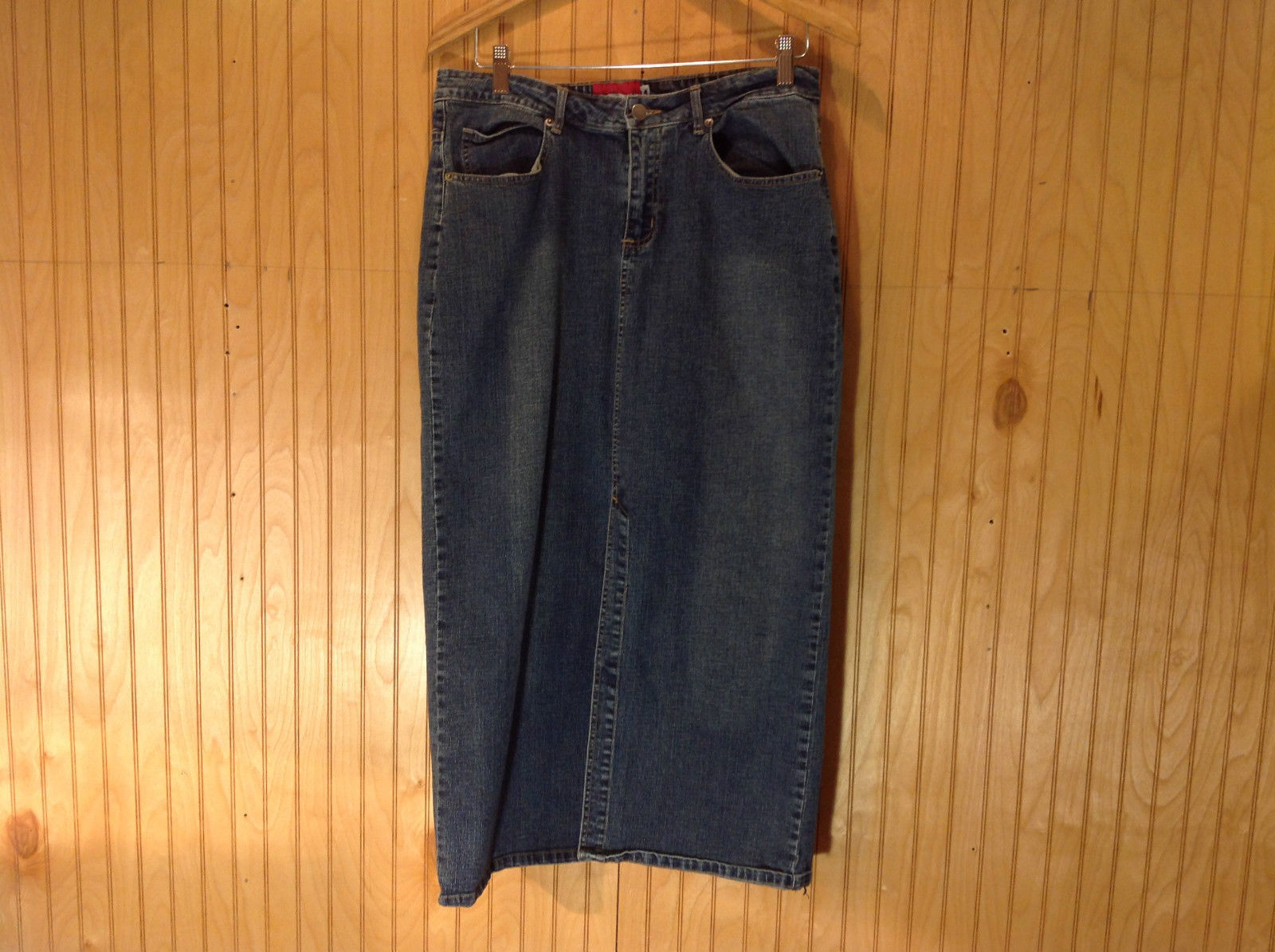 L A Blue Stretch Blue Denim Long Skirt Size 14 Button and Zipper Front Closure