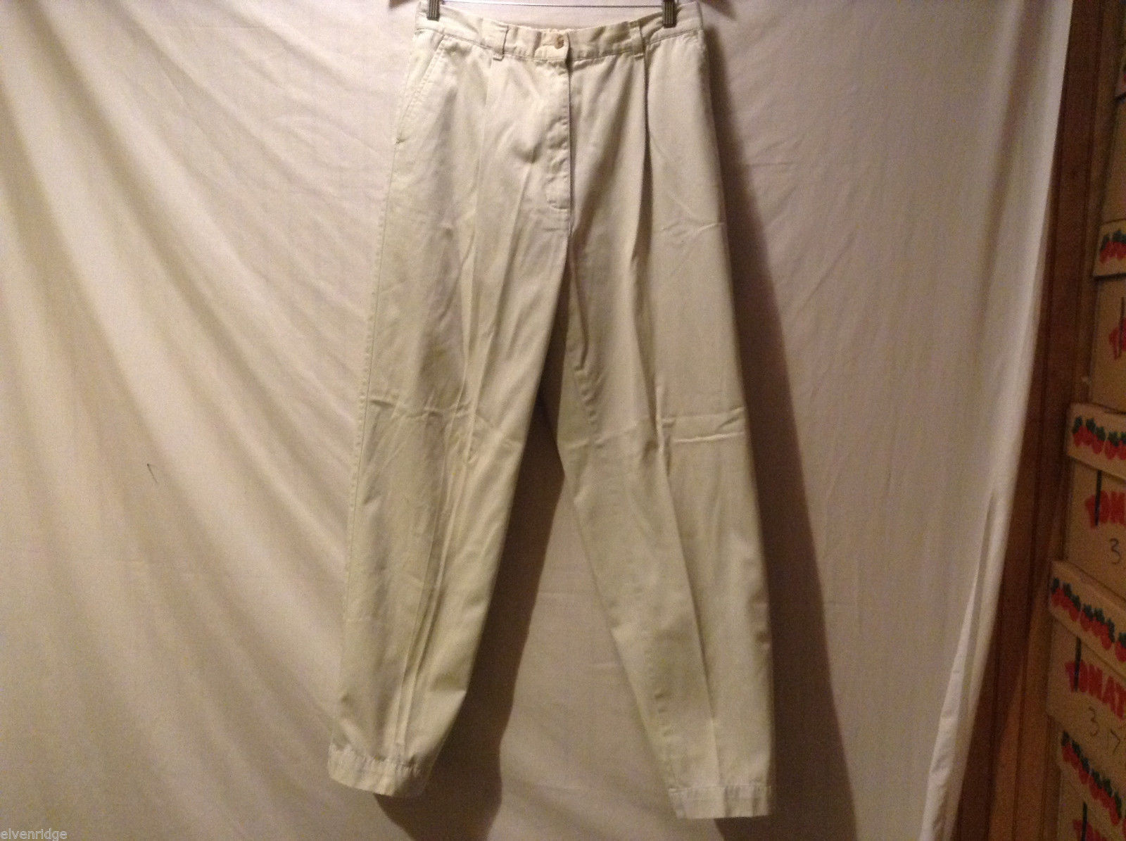 L.L.Bean Ladies 100% cotton Off white Tan Casual Pants, Size 14 Tall