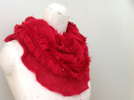 Infinity Pretty Red Frilly Furry Scarf Length One Side 28 Inches image 2