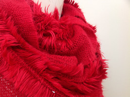 Infinity Pretty Red Frilly Furry Scarf Length One Side 28 Inches image 3