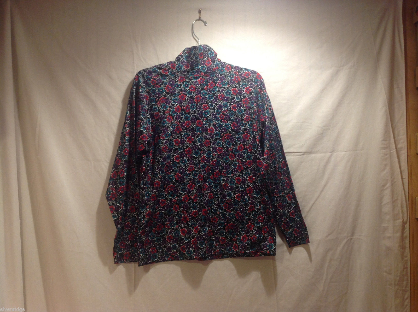 L.L.Bean Floral Print 100% Cotton Multicolor Mock Turtleneck Sweater, Size M