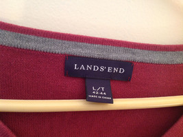 Maroon Dark Red Lands End V Neck Shaped Stretchy Casual Sweater Size Large image 5