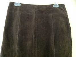 Massini Real Suede Leather Brown Long Length Skirt Zipper Closure Back Size 10 image 2