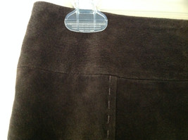 Massini Real Suede Leather Brown Long Length Skirt Zipper Closure Back Size 10 image 5