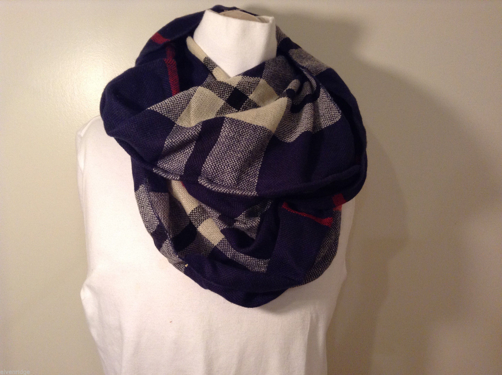 LOOK Infinity navy blue white red plaid scarf, wool acrylic blend