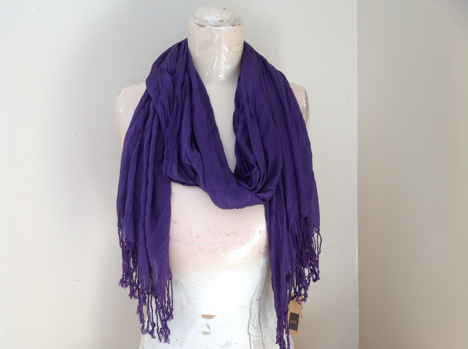 LOOK by M Purple Silk Cotton Scrunched Scarf Tassels at the Ends Tag Attached