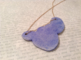 Abstract Pattern Conceptual Blue Handmade Ceramic Pendant Necklace  image 5