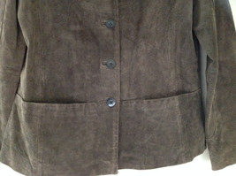 Massini Brown Real Suede Leather Button Up Blazer Jacket Front Pockets Size M image 3