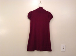 Maroon Planet Gold Short Sleeve Turtleneck Sweater Top Pretty Sleeves Size Large image 2