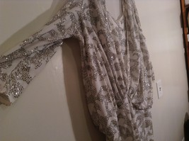 Martinique Fashion Long Sleeve White Silver Sequence Fancy Dress No Size Tag image 7