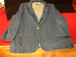 Ladies Three Quarter Length Sleeves Denim Blazer Lisa Josephs Size Large
