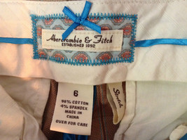 Abercrombie and Fitch Size 6 Stretch Waist Brown Capris with Blue Stripes image 5
