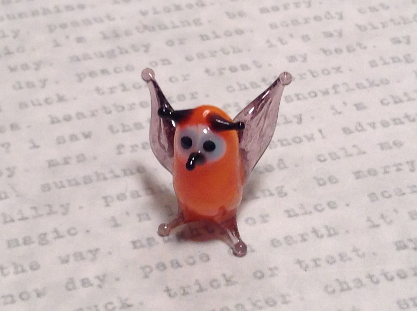 Micro miniature small hand blown glass orange horned Owl made USA NIB