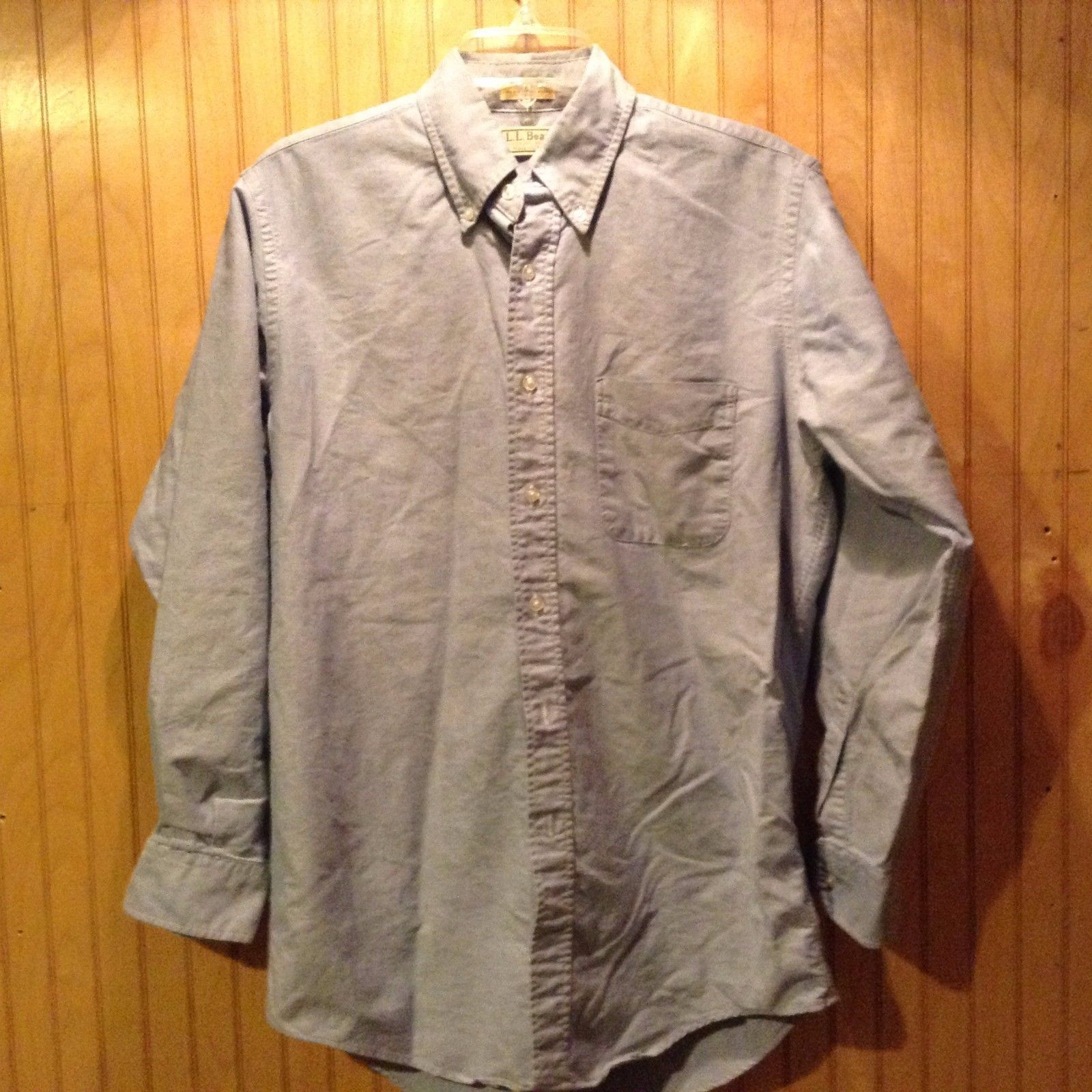 L.L. Bean Light Blue Button-Up Men's Shirt Casual Long Sleeve Made in USA Cotton