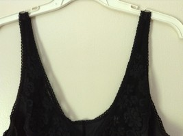 J C Penny Fantasia Lingerie Night Black Camisole Top Laced Rose on Front image 3