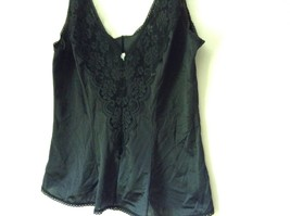 J C Penny Fantasia Lingerie Night Black Camisole Top Laced Rose on Front image 5