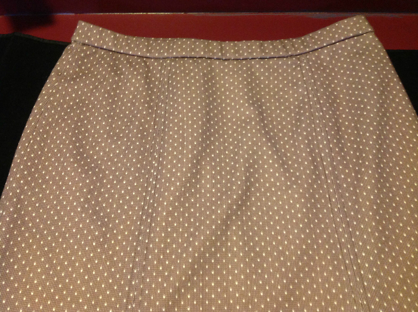 Ladies Wilroy Traveler Brown Skirt with White Polka Dots Size 10