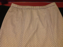 Ladies Wilroy Traveler Brown Skirt with White Polka Dots Size 10