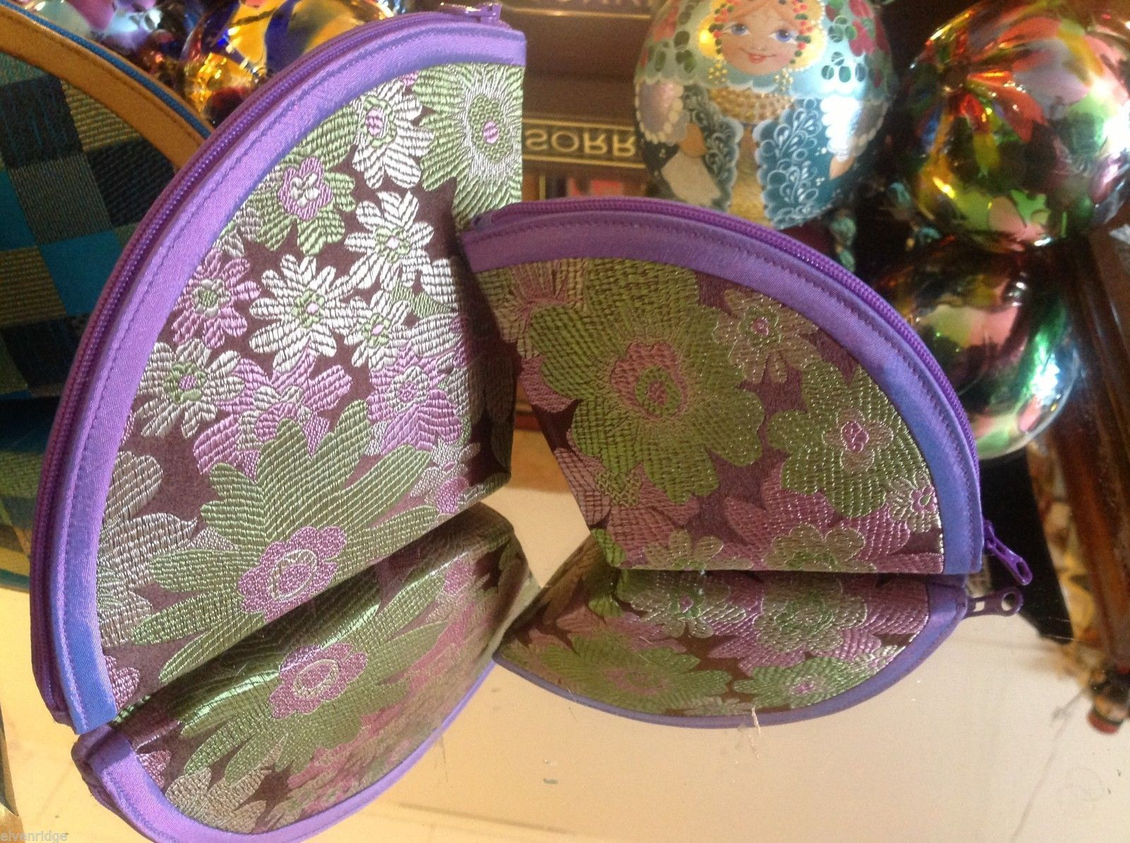 Ladies petite clutch set 2 w satin pattern fan nesting perfect 4 luncheons