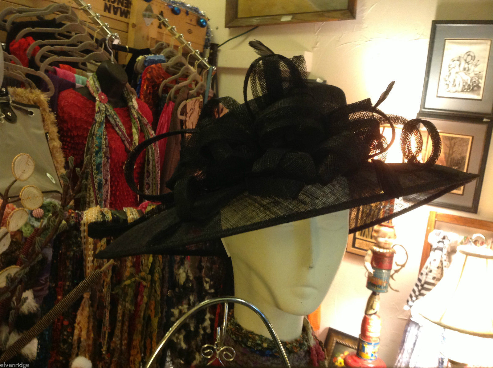 Ladies statement straw black hat w black feather & ribbon Plaza Suite NY