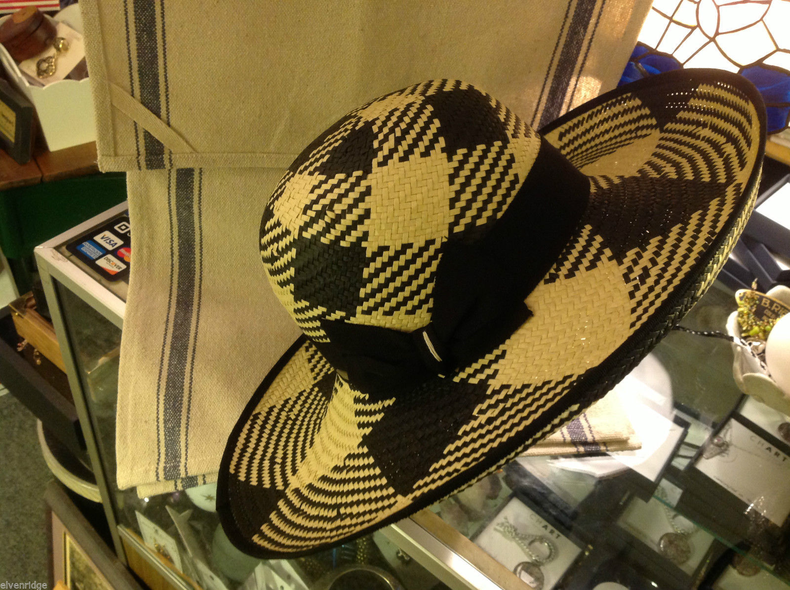 Ladies statement straw hat with  ribbon tie black and white Orchid