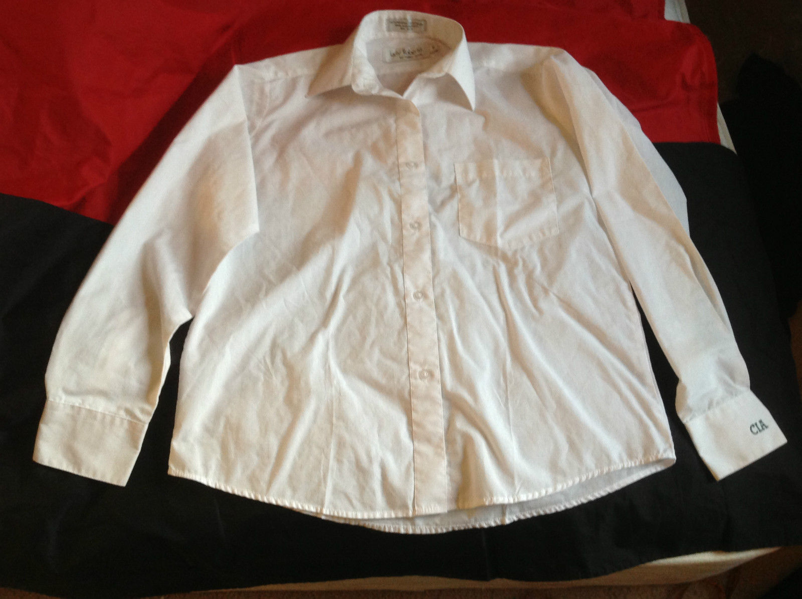 Lady Roberto Ladies White Long Sleeve Shirt CIA in Green Letters on Cuff Size 6