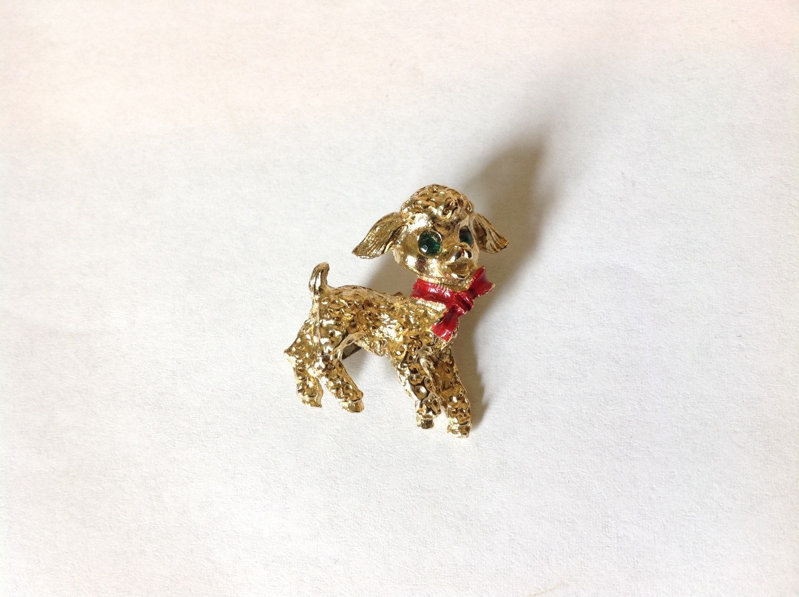 Lamb Pin with Green Crystal Eyes and Red Scarf Hinge Clasp Gold Tone