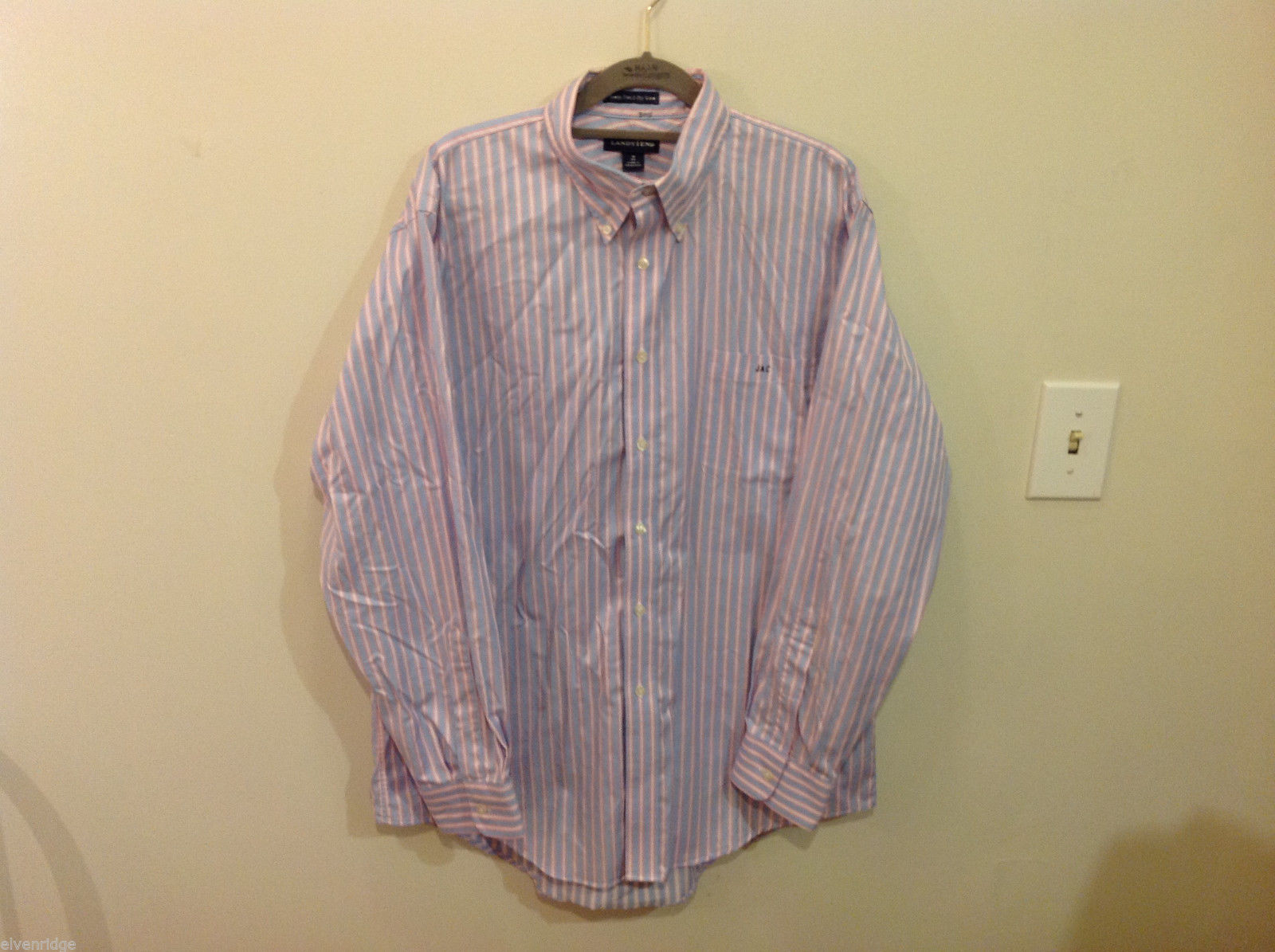 Lands End Light Blue Pink White Striped Dress Shirt, Size 16/34