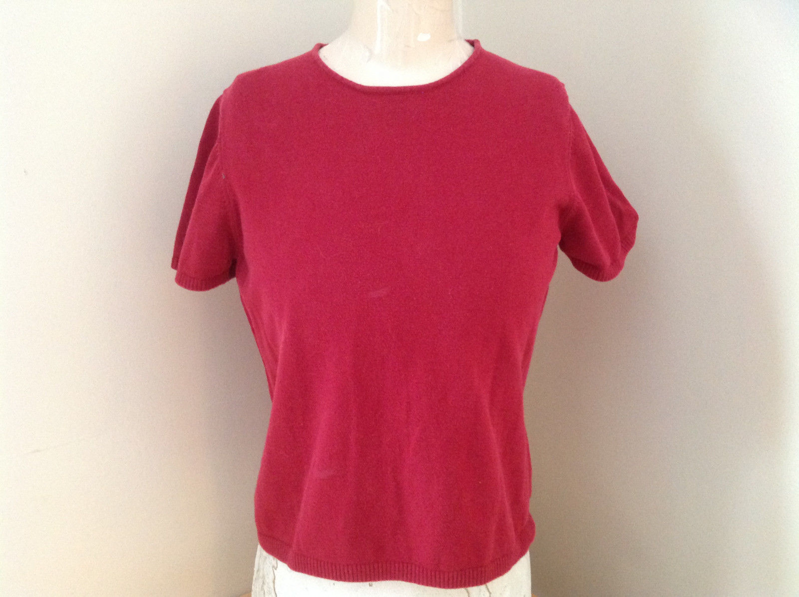 Lands End Red Crew Neck Short Sleeve Shirt Sweater-like Size Medium