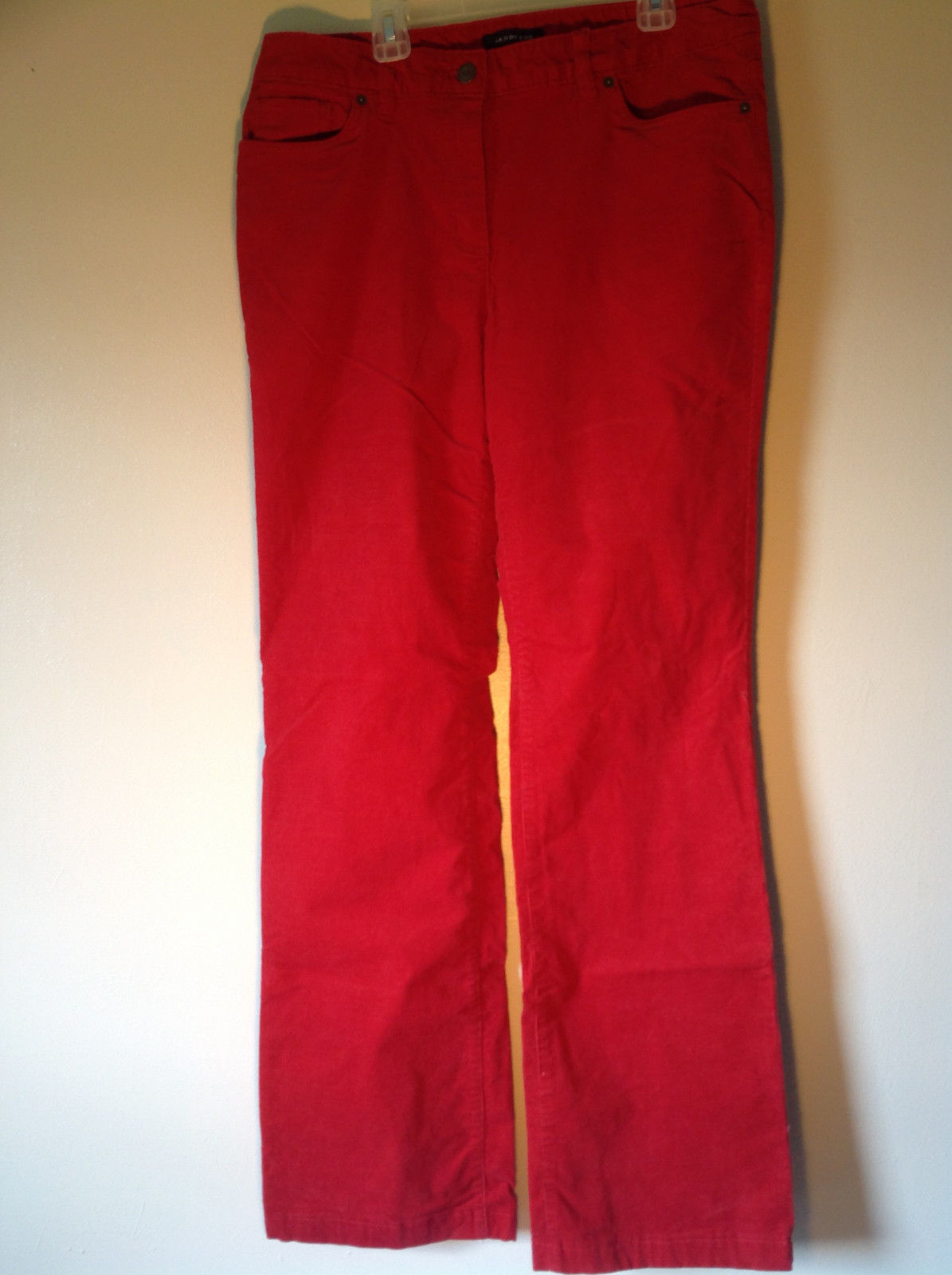 Lands End Red Corduroy Pants 2 Front Pockets 2 Back Pockets Size 10