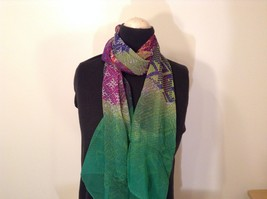 Abstract art scarf in mosaic pattern multicolor and base color choice image 2