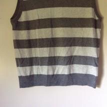 J Crew Size Medium Soft Gray Striped V Neck Vest image 3