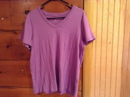 Lands End Size XL 18 to 20 V Neck Short Sleeve Purple Shirt 100 Percent Cotton