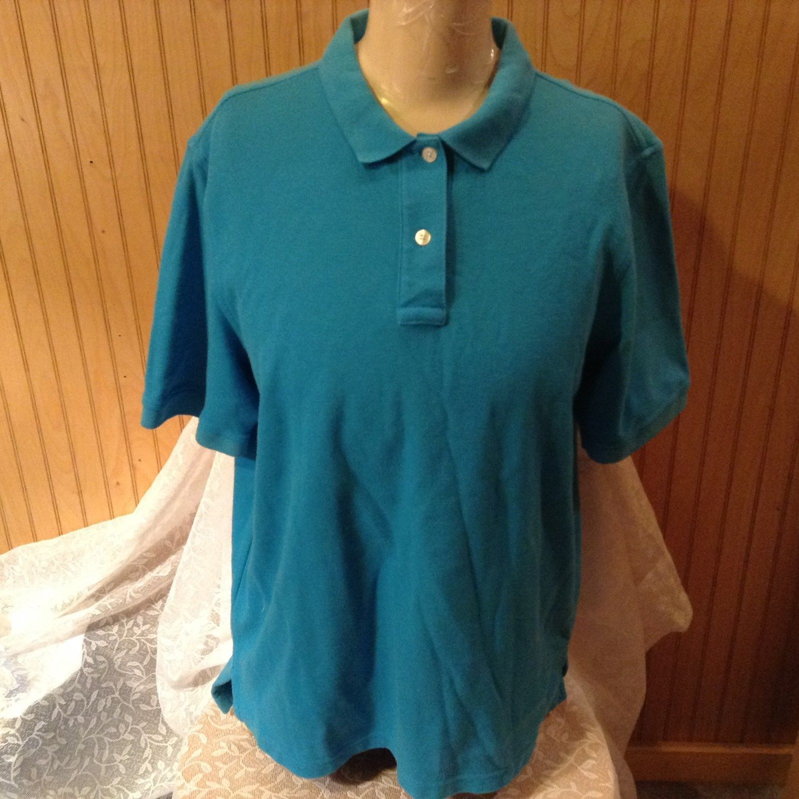 Lands End Regular Size Large 14 to 16 Baby Blue Short Sleeve Polo Shirt