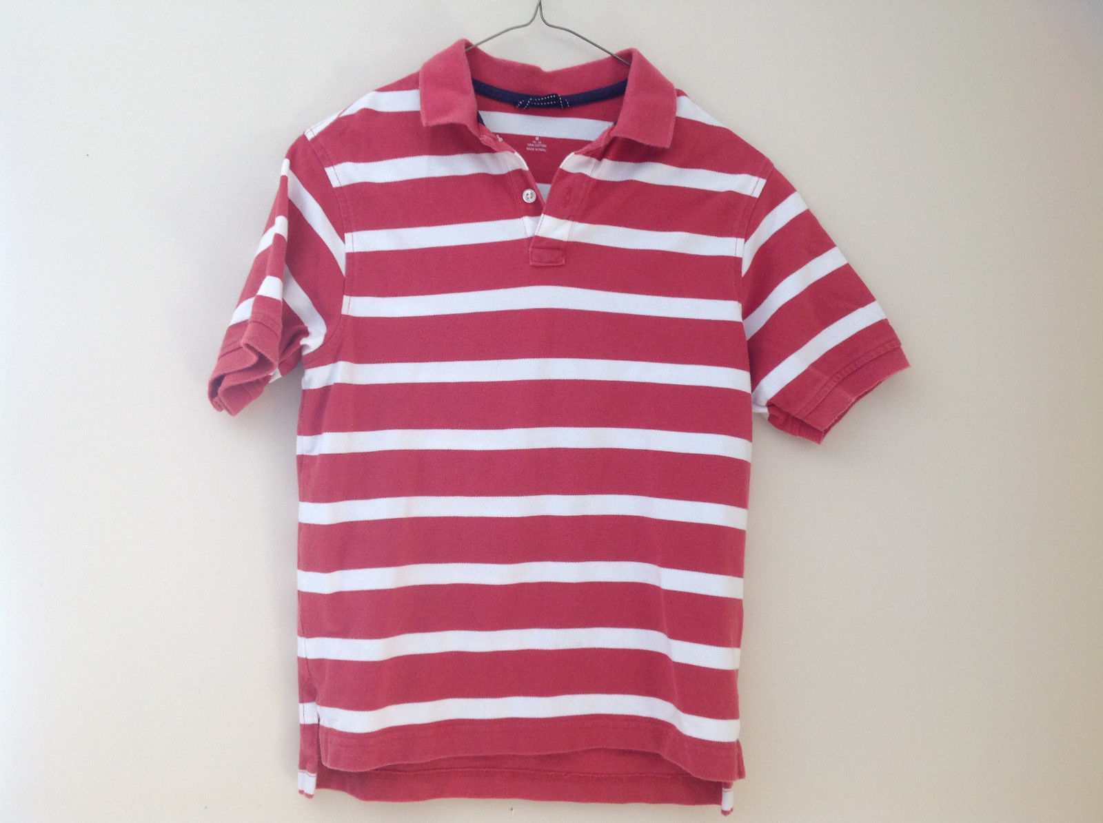 lands end red and white striped short sleeve polo shirt