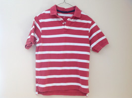 Lands End Red and White Striped Short Sleeve Polo Shirt Button Up Collar Size M