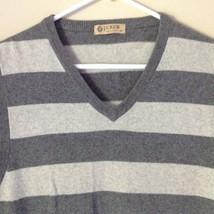 J Crew Size Medium Soft Gray Striped V Neck Vest image 2