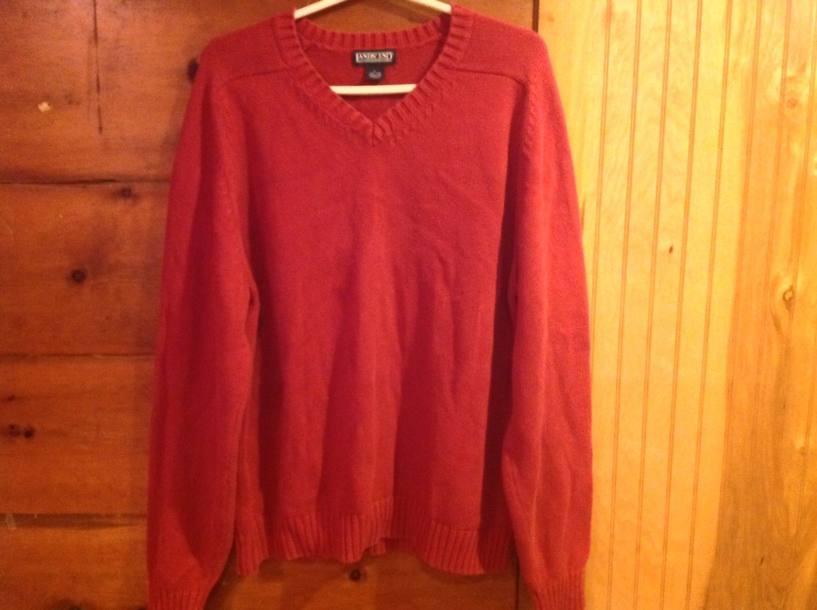 Lands End Red Long Sleeve V Neck Sweater 100 Percent Cotton Size L 42 to 44 Reg