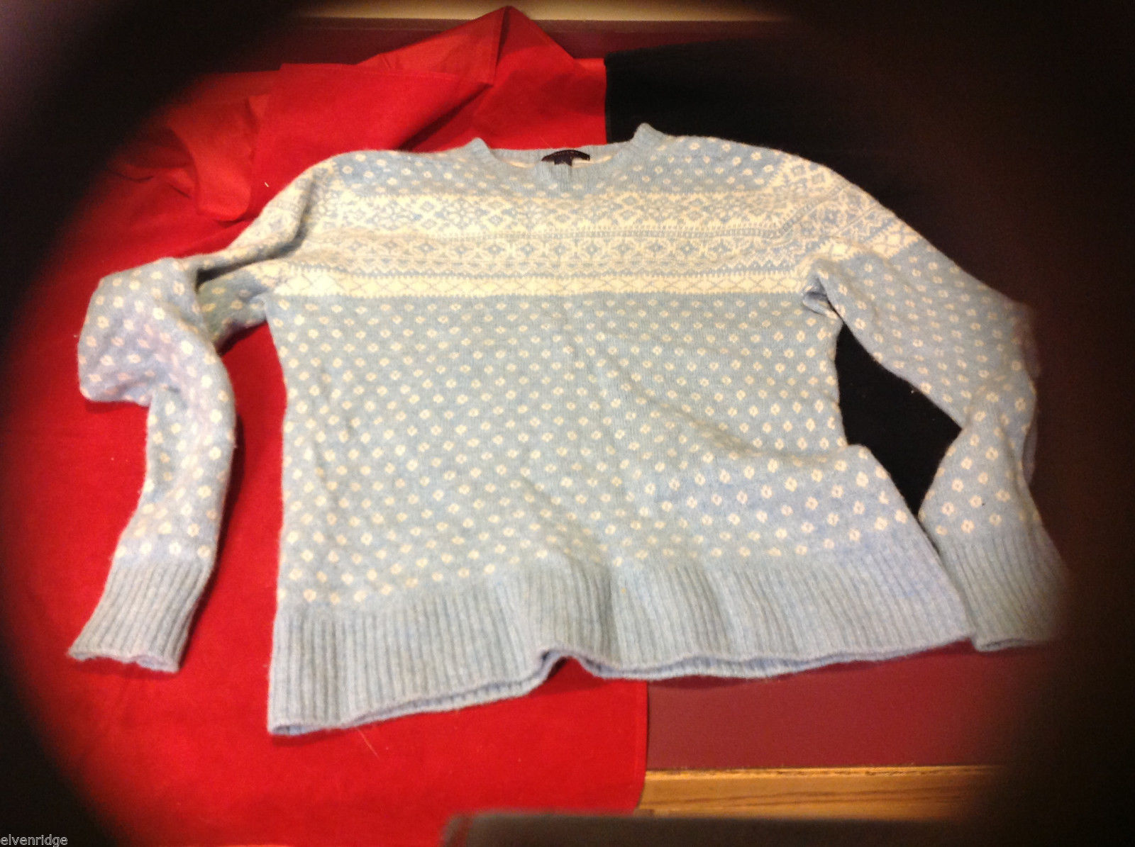 Lands End Womens Light Baby Blue Kint Winter Holiday Snowflake Sweater Large L