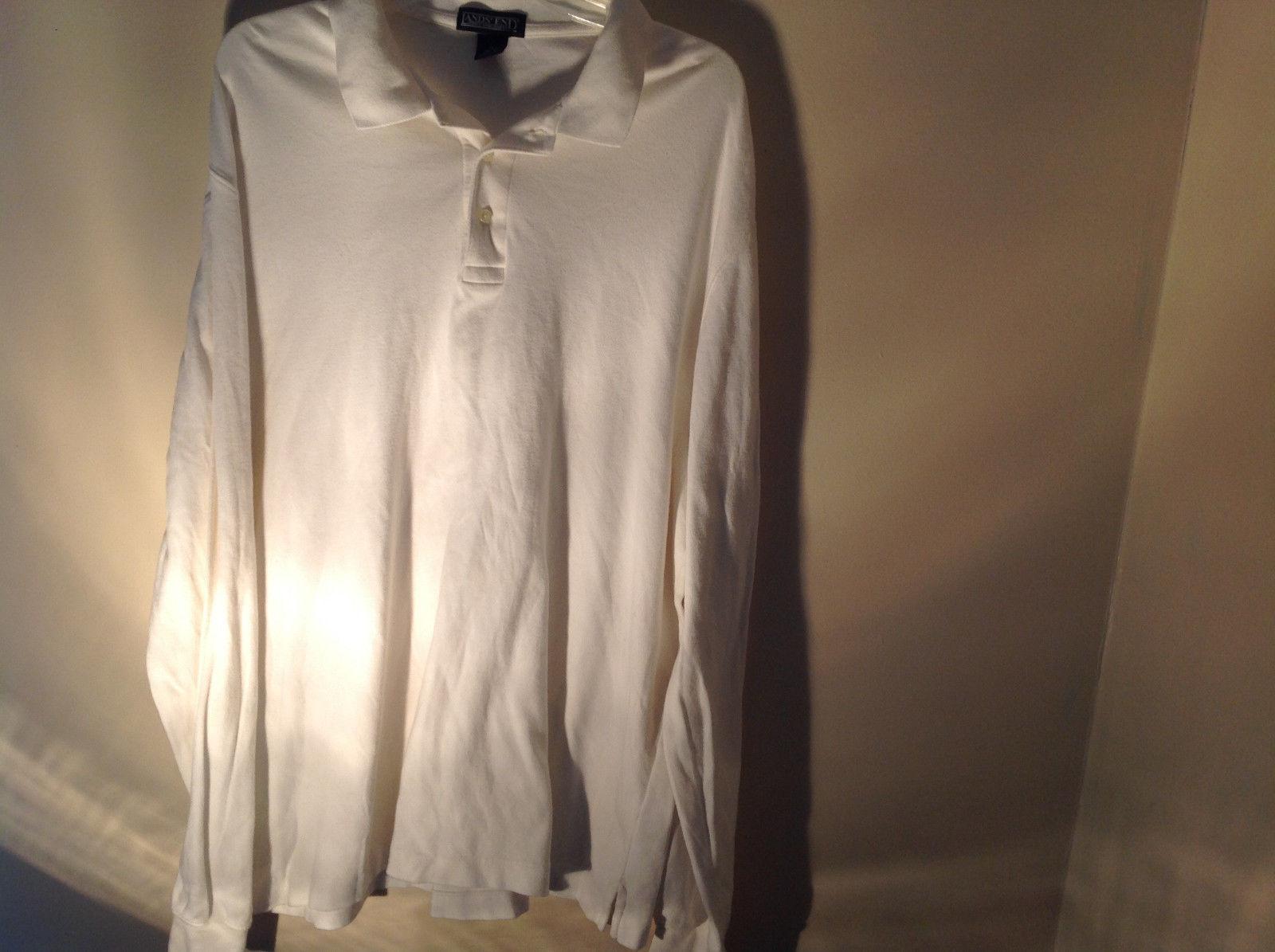 Lands End White Long Sleeve Collared Very Soft Shirt Perfect Condition Size XL