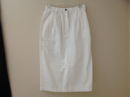 Lands End White 3 Pocket Pleated Calf Length Skirt Button Zip Closure Size 10P