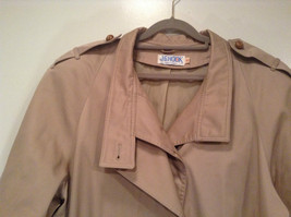 J G Hook Long Tan Trench Coat Size 16 Hidden Button Front Closure image 2