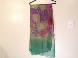 Abstract art scarf in mosaic pattern multicolor and base color choice image 3