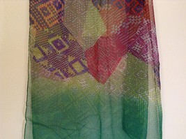 Abstract art scarf in mosaic pattern multicolor and base color choice image 5